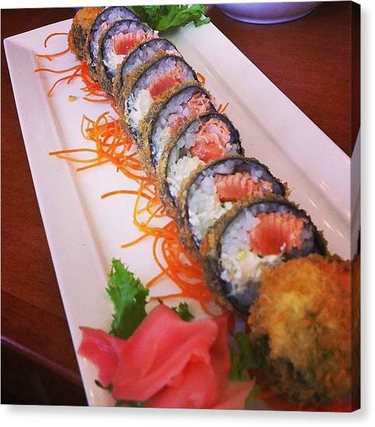 Salmon Canvas Print - #sushi #jbroll #tempura #salmon #moo by Steven Griffin