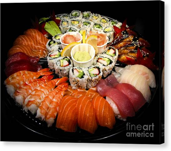Banquet Canvas Print - Sushi Party Tray by Elena Elisseeva