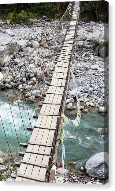 Himalayas Canvas Print - Suspension Bridge Near Annapurna by Ashley Cooper