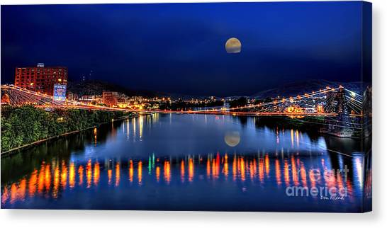 Suspension Bridge Wheeling Wv Panoramic Canvas Print
