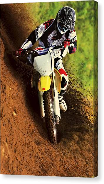 Dirt Bikes Canvas Print - Suzuki Hill Climb 2 by Movie Poster Prints