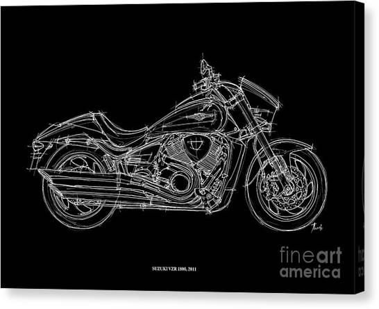 Suzuki Canvas Print - Suzuki Vzr 1800 - 2011 by Drawspots Illustrations