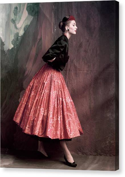 Lacquer Canvas Print - Suzy Parker In A Givenchy Skirt by John Rawlings