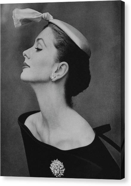 Suzy Parker In An Off-the-shoulder Dress Canvas Print by John Rawlings