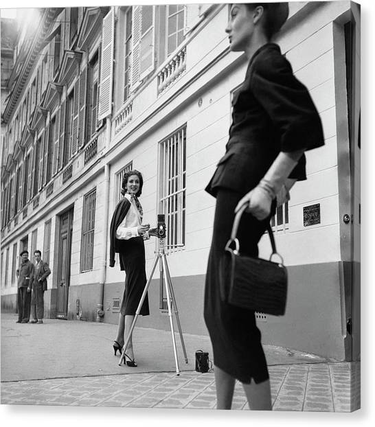 Fashion Canvas Print - Suzy Parker Photographing A Model In Front by Jacques Boucher