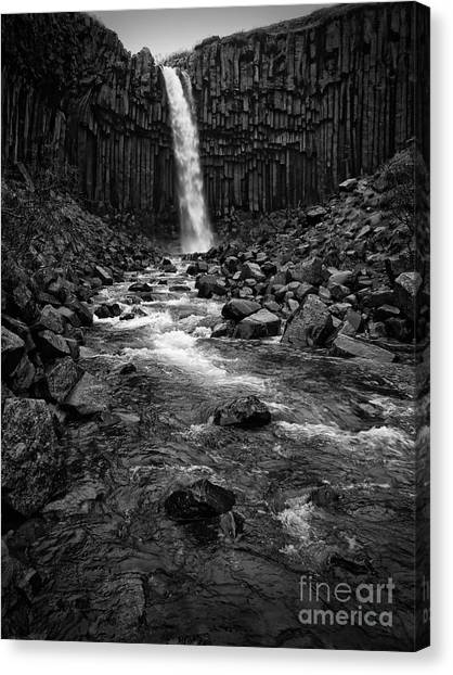 Svartifoss Waterfall In Black And White Canvas Print