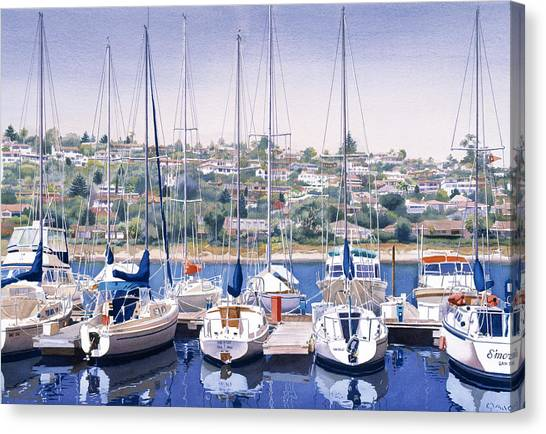 Dock Canvas Print - Sw Yacht Club In San Diego by Mary Helmreich