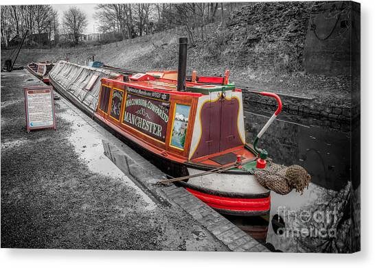 Swallows Canvas Print - Swallow Canal Boat by Adrian Evans