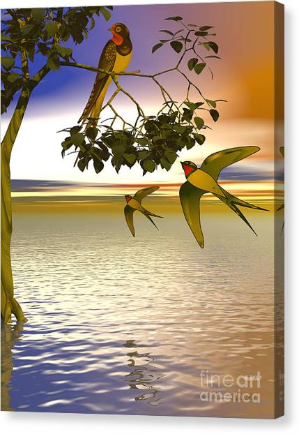 Swallows At Sundown Canvas Print by Sandra Bauser Digital Art