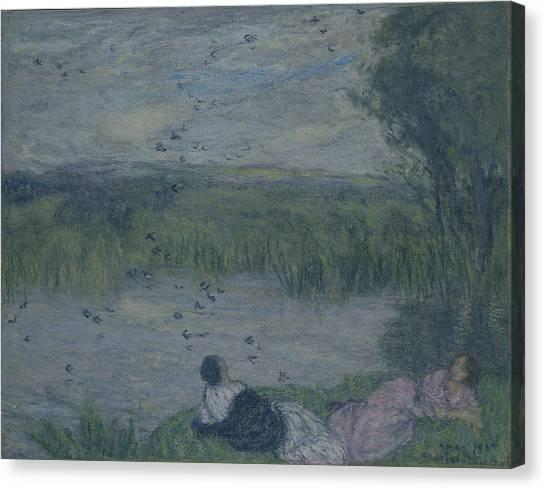 Swallows Canvas Print - Swallows Oil On Canvas by Edmond-Francois Aman-Jean