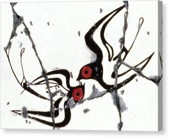 Bogdanoff Canvas Print - Swallows With Lilies No. 5 - Study No. 1 by Steve Bogdanoff