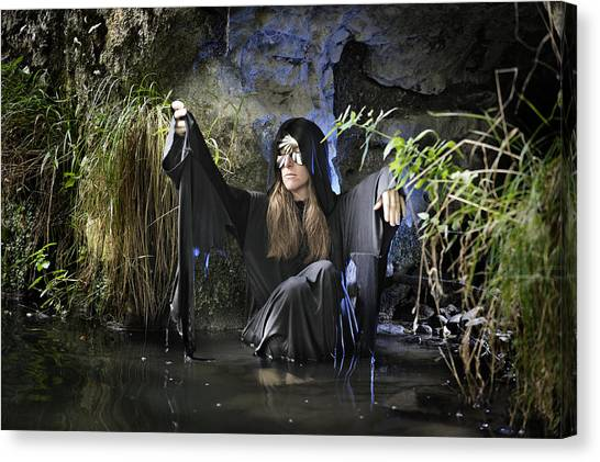 Swamp Hag In Blue Canvas Print