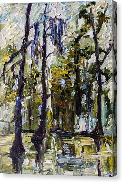 Swamp Morning Cypress Trees Oil Painting Canvas Print
