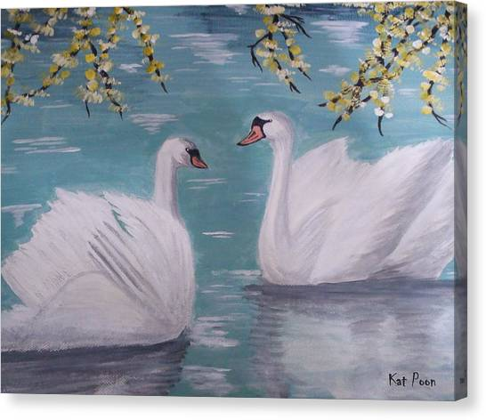 Swans On Pond Canvas Print by Kat Poon