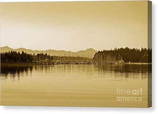 Canvas Print featuring the photograph Swantown Marina And The Olympics In Sepia by Susan Parish