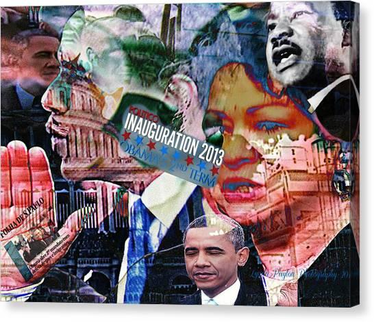 President Obama Canvas Print - Swearing In by Lynda Payton