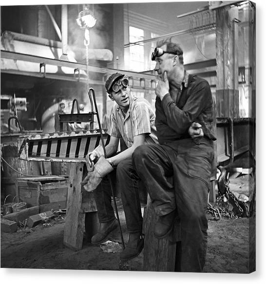 Swedish Foundry Workers Canvas Print by David Murphy