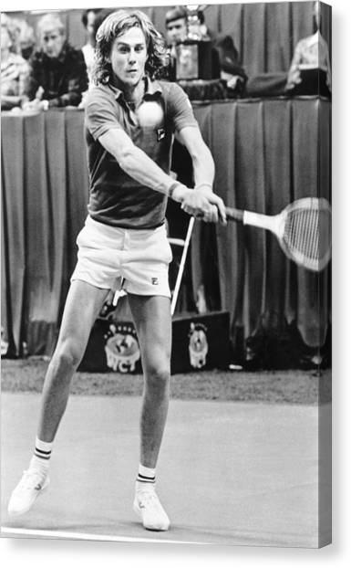 Tennis Racquet Canvas Print - Swedish Tennis Star Bjorn Borg by Underwood Archives