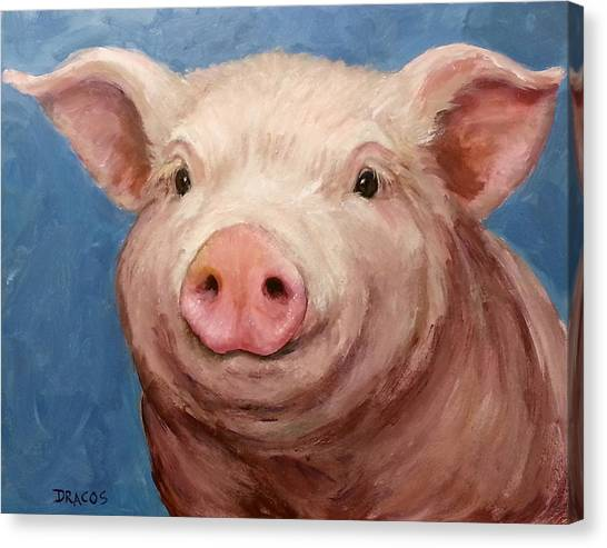 Pig Farms Canvas Print - Sweet Baby Pig Portrait by Dottie Dracos