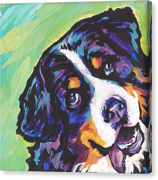 Bernese Mountain Dogs Canvas Print - Sweet Berner by Lea S