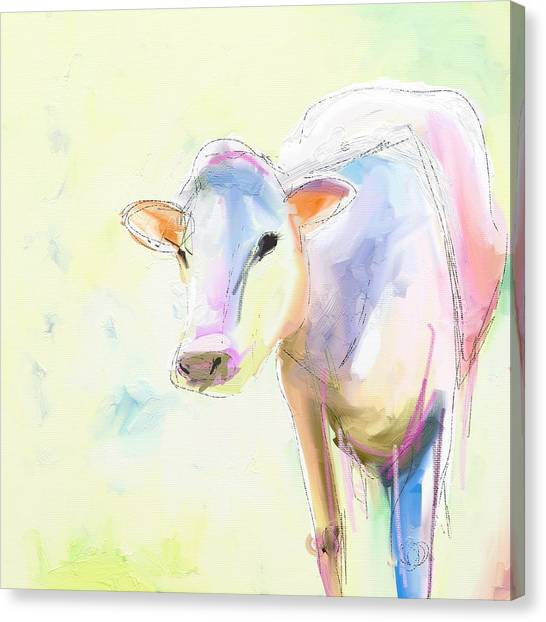 Pastel Canvas Print - Sweet Cow by Cathy Walters