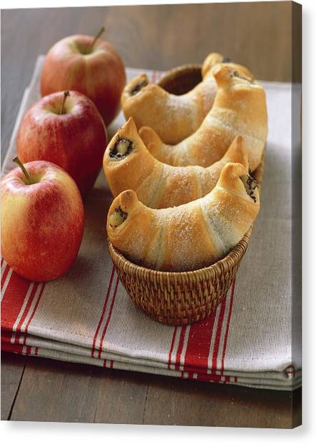 Stuffing Canvas Print - Sweet Croissants With Poppy Seed And Apple Filling by Eising Studio - Food Photo and Video