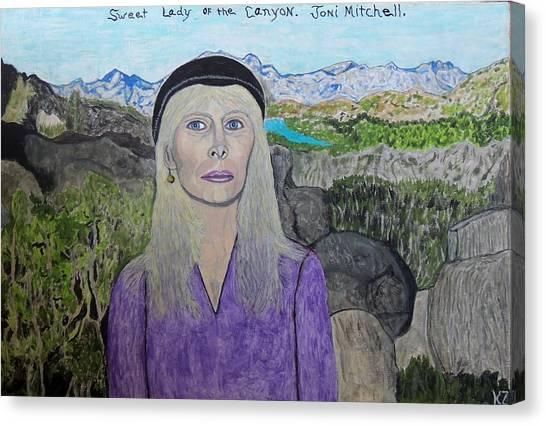 Joni Mitchell Canvas Print - Sweet Lady Of The Canyon. by Ken Zabel