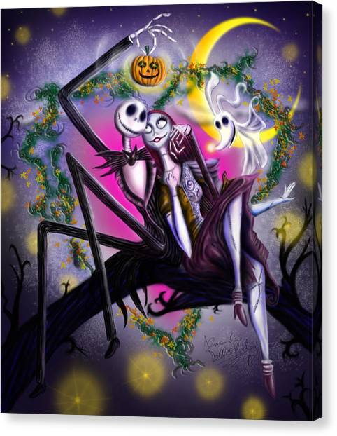 Pumpkins Canvas Print - Sweet Loving Dreams In Halloween Night by Alessandro Della Pietra