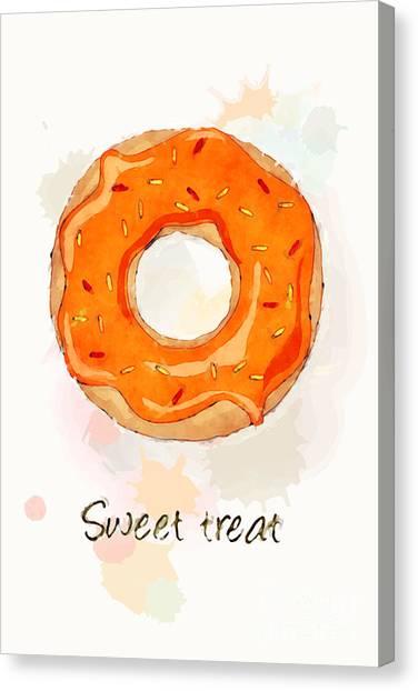 Doughnuts Canvas Print - Sweet Treat Orange by Jane Rix