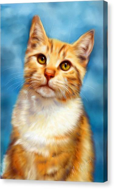 Sweet William Orange Tabby Cat Painting Canvas Print