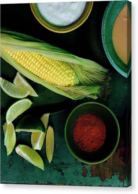 Mayonnaise Canvas Print - Sweetcorn And Limes by Romulo Yanes