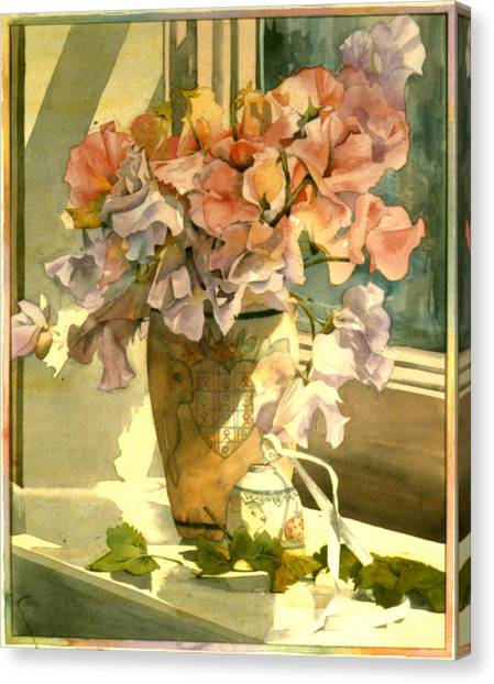 Easter Bunny Canvas Print - Sweetpea On The Windowsill by Julia Rowntree
