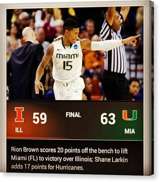 Hurricanes Canvas Print - Sweetsixteen @umiamihurricanes #ncaa by Nick Matthis
