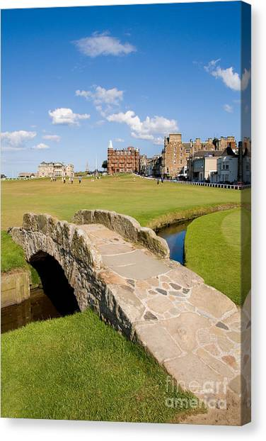 Golf Course Canvas Print - Swilcan Bridge On The 18th Hole At St Andrews Old Golf Course Scotland by Unknown