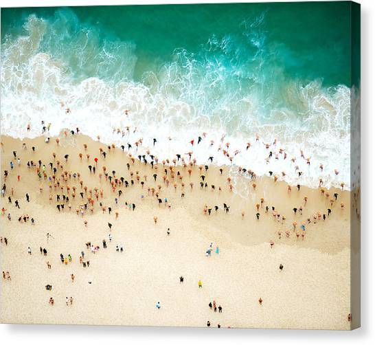 Swimmers Entering The Ocean Canvas Print