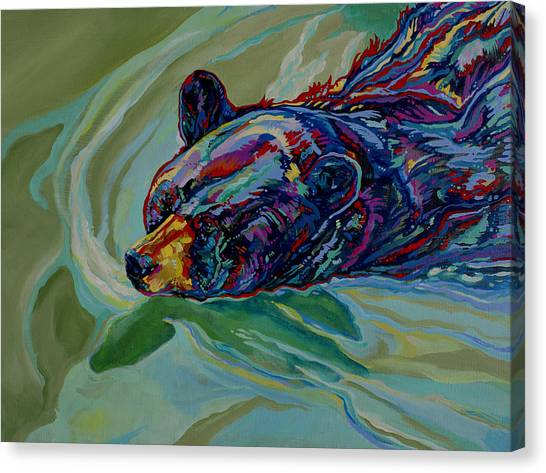 Fauvism Canvas Print - Swimming Bear by Derrick Higgins