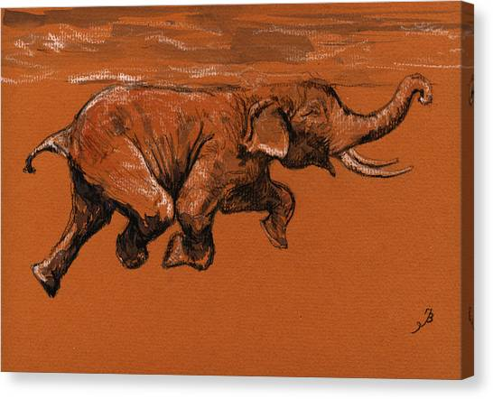 Ivory Canvas Print - Swimming Elephant by Juan  Bosco