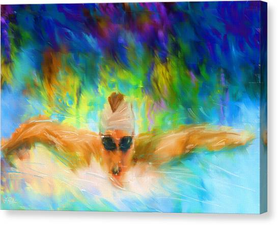 Water Sports Art Canvas Print - Swimming Fast by Lourry Legarde