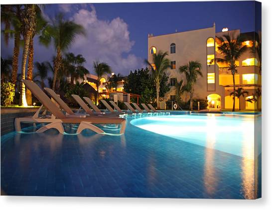 Swimming Pool At Night I Canvas Print by Dave Dos Santos
