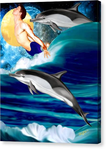 Swimming With Dolphins Canvas Print