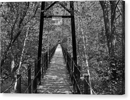 Swinging Bridge Patapsco State Park Bw Canvas Print