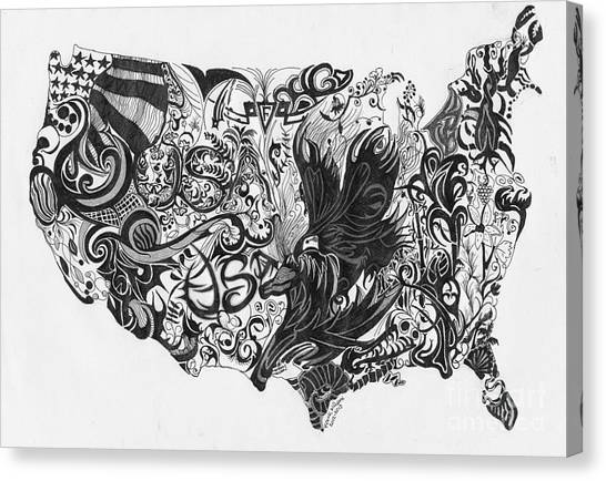Swirlin Usa Canvas Print