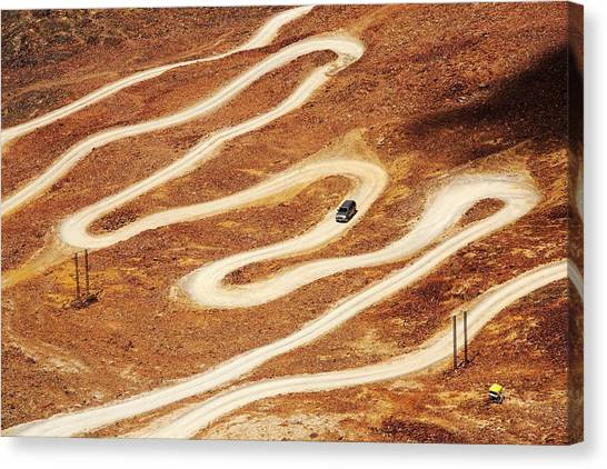 Bolivian Canvas Print - Switchback Road To Chacaltaya by Ashley Cooper/science Photo Library