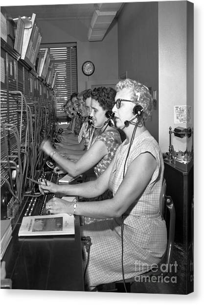 Canvas Print featuring the photograph Switchboard Operators by Merle Junk