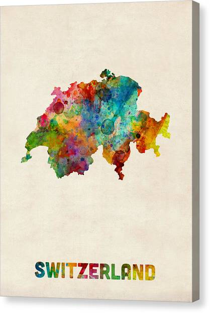 Swiss Canvas Print - Switzerland Watercolor Map by Michael Tompsett