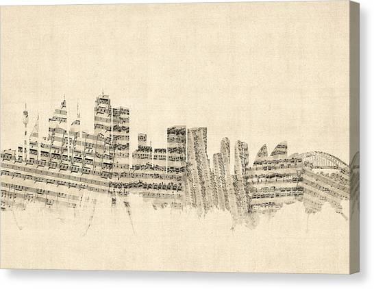 Sydney Skyline Canvas Print - Sydney Australia Skyline Sheet Music Cityscape by Michael Tompsett