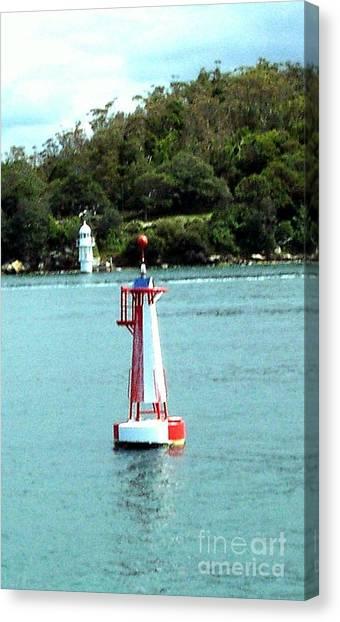 Sydney Buoy And Lighthouse Canvas Print by John Potts