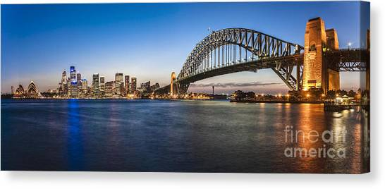 Sydney Harbour Evening Panorama Canvas Print