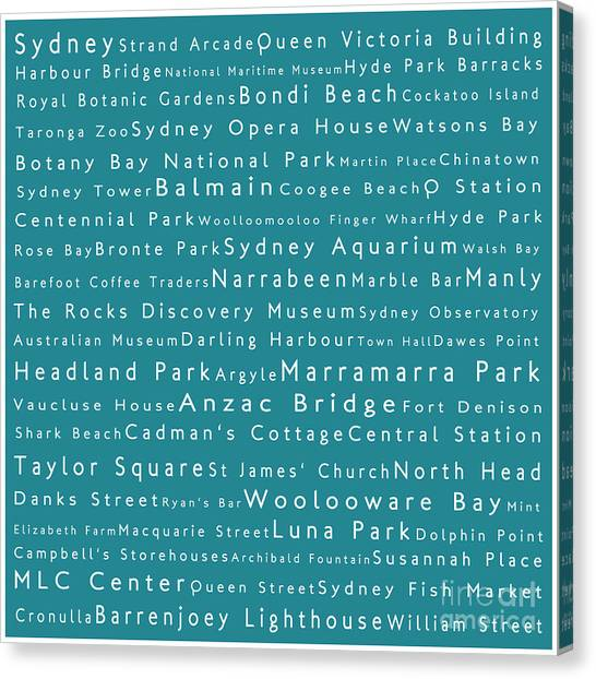 Sydney In Words Teal Canvas Print