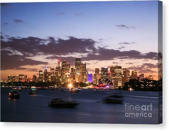 Sydney Skyline Canvas Print - Sydney Skyline At Dusk Australia by Matteo Colombo
